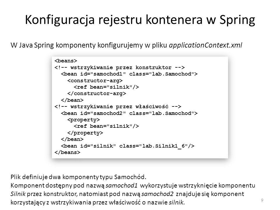 Konfiguracja rejestru kontenera w Spring