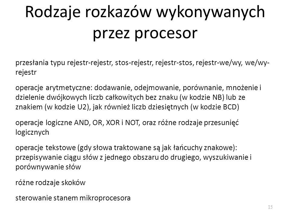 Rodzaje rozkazów wykonywanych przez procesor
