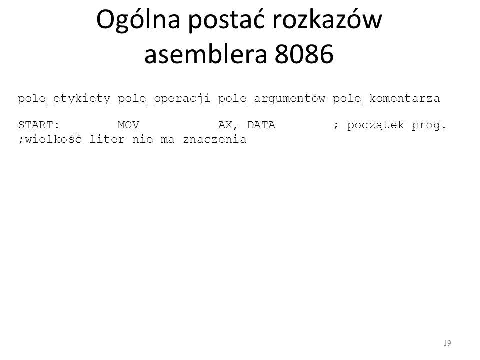 Ogólna postać rozkazów asemblera 8086