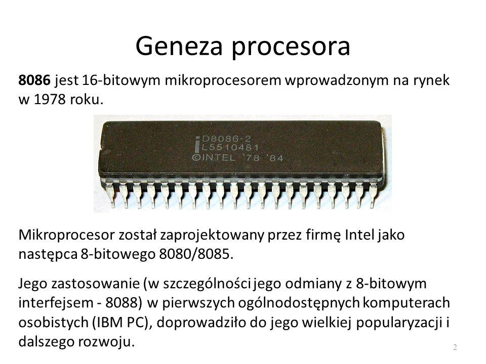 Geneza procesora 8086 jest 16-bitowym mikroprocesorem wprowadzonym na rynek w 1978 roku.