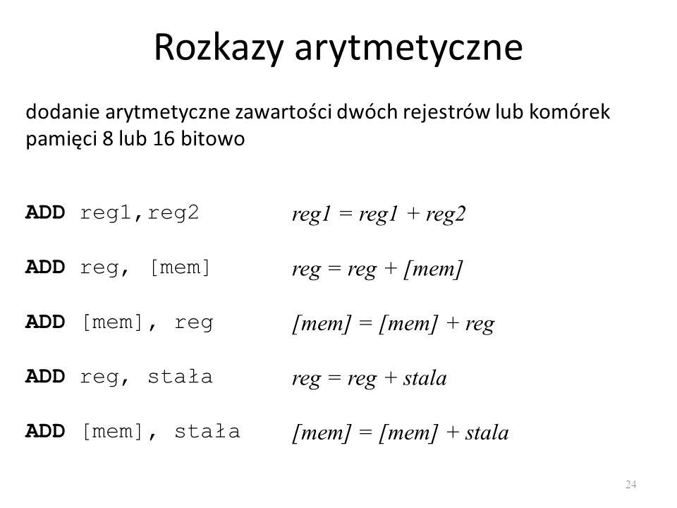 Rozkazy arytmetyczne dodanie arytmetyczne zawartości dwóch rejestrów lub komórek pamięci 8 lub 16 bitowo.