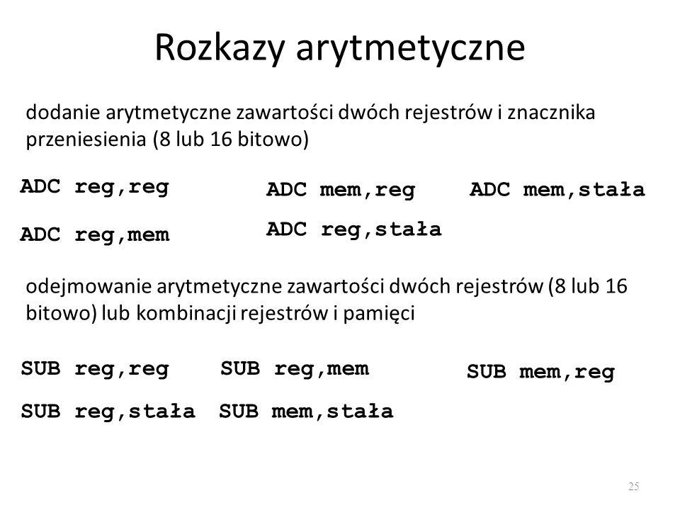Rozkazy arytmetyczne dodanie arytmetyczne zawartości dwóch rejestrów i znacznika przeniesienia (8 lub 16 bitowo)