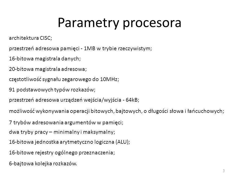 Parametry procesora architektura CISC;