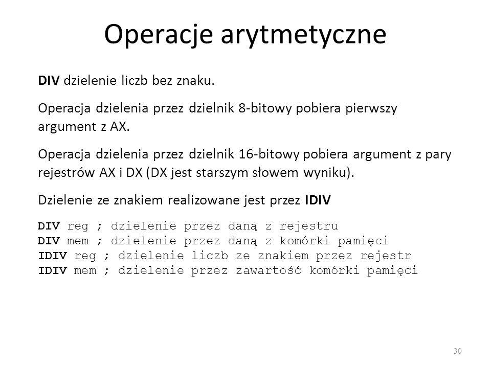 Operacje arytmetyczne