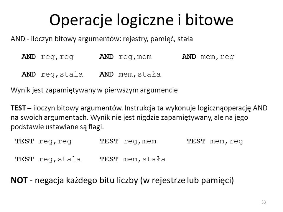 Operacje logiczne i bitowe