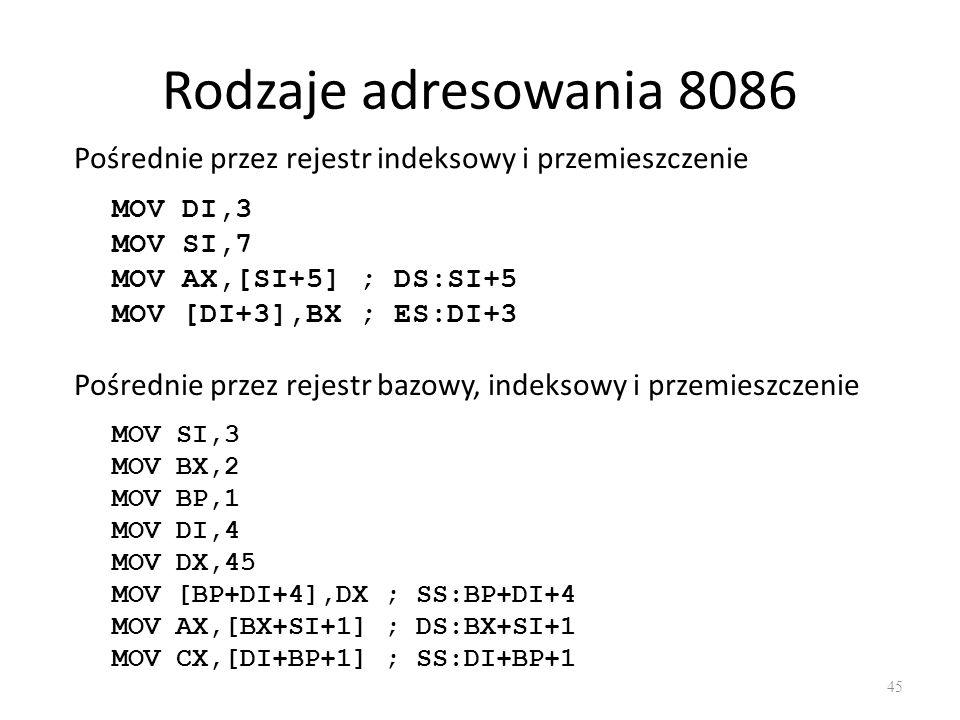 Rodzaje adresowania 8086 Pośrednie przez rejestr indeksowy i przemieszczenie. MOV DI,3. MOV SI,7.