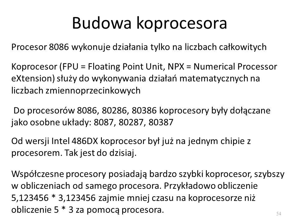 Budowa koprocesora Procesor 8086 wykonuje działania tylko na liczbach całkowitych.