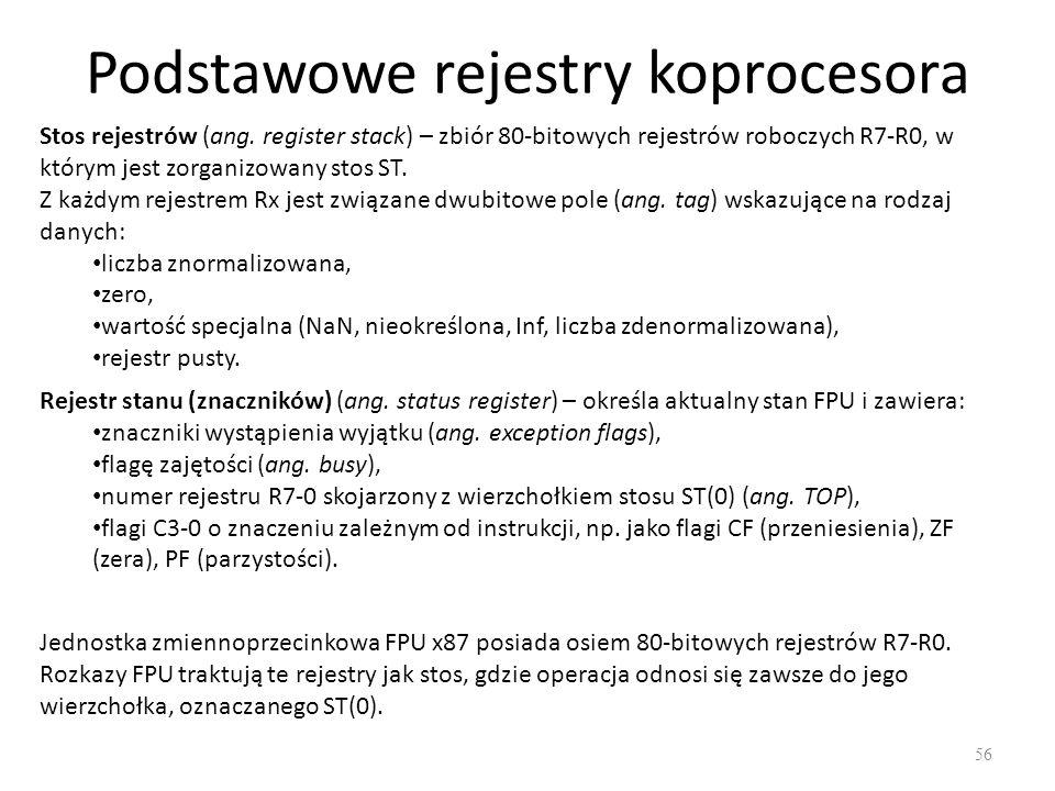 Podstawowe rejestry koprocesora