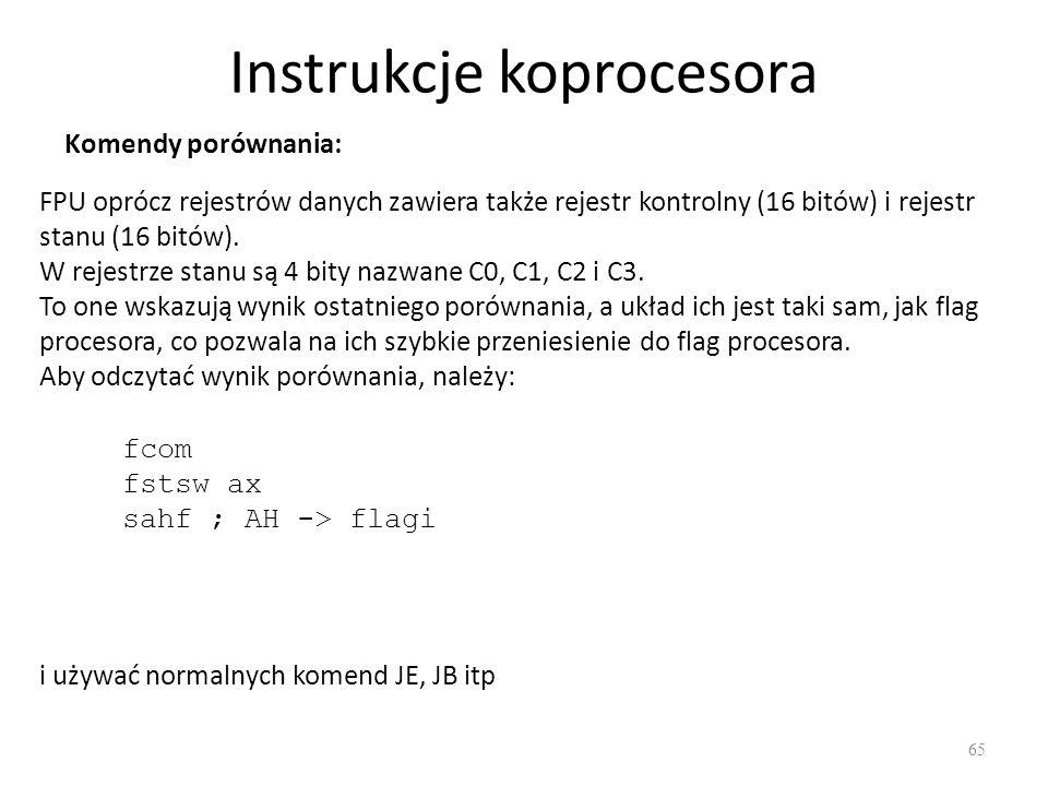 Instrukcje koprocesora