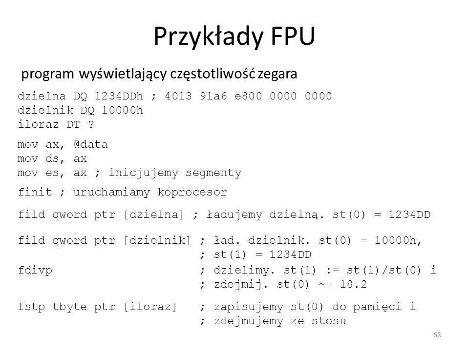 Przykłady FPU program wyświetlający częstotliwość zegara
