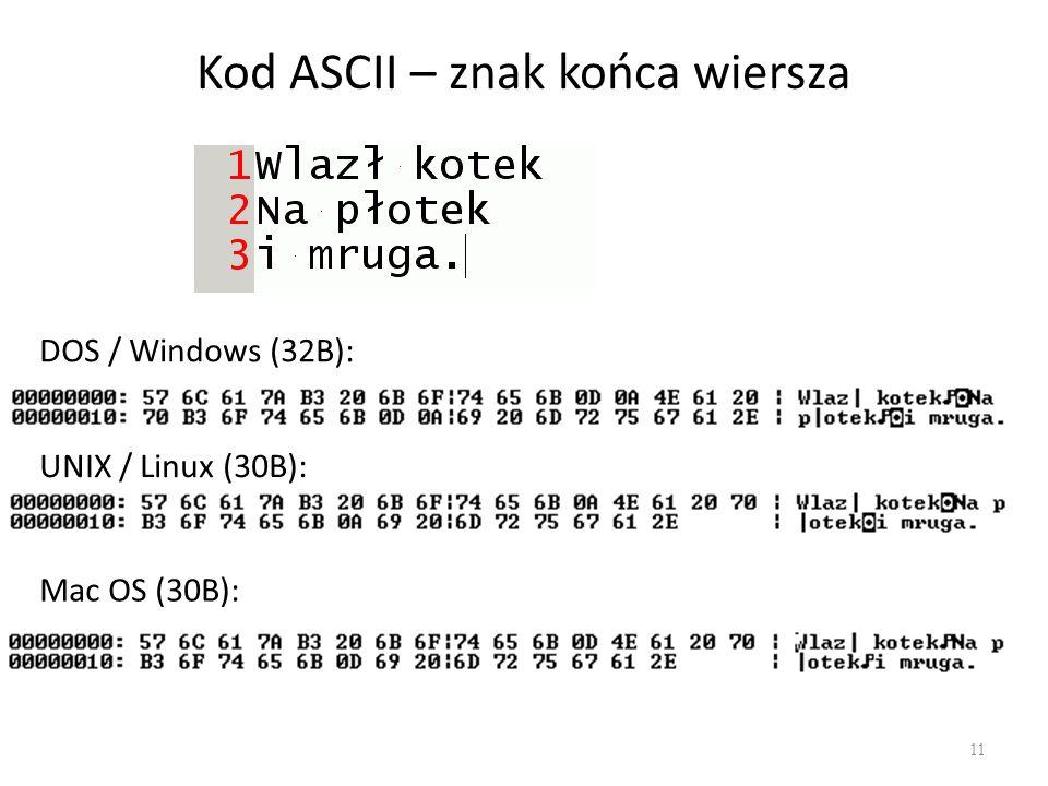 Kod ASCII – znak końca wiersza