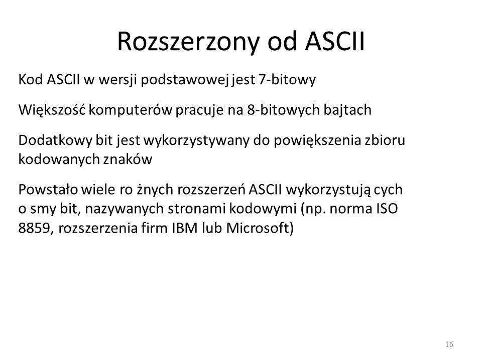 Rozszerzony od ASCII Kod ASCII w wersji podstawowej jest 7-bitowy