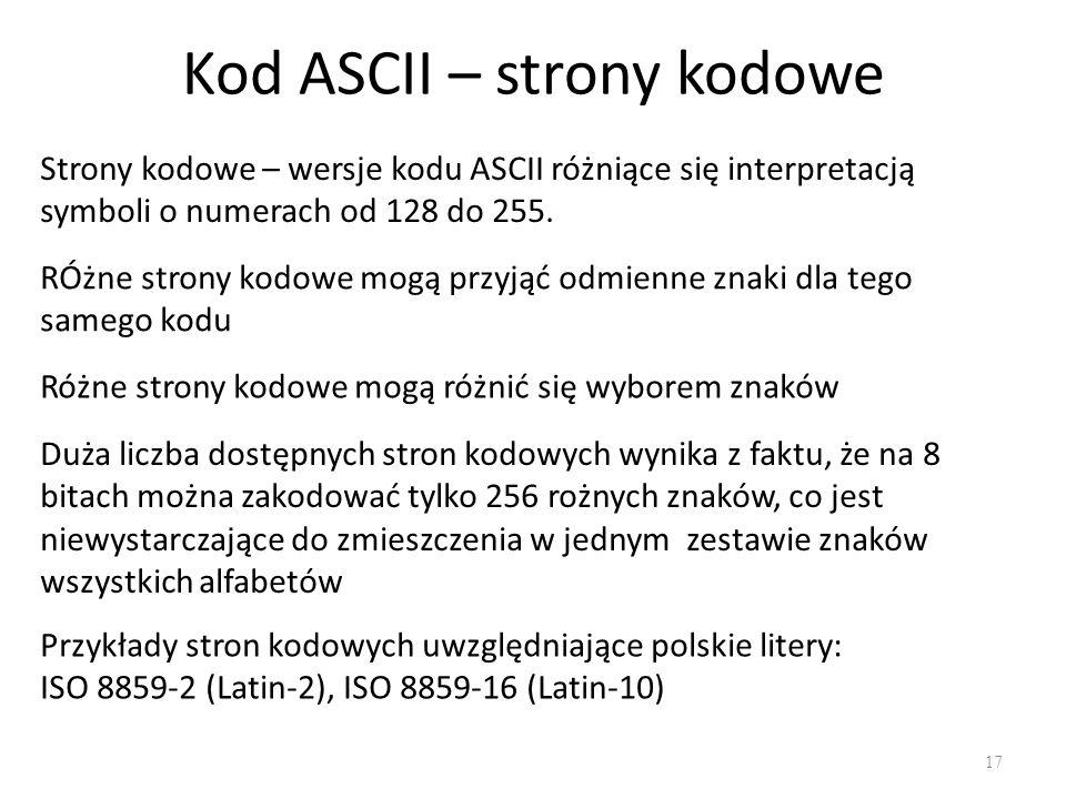 Kod ASCII – strony kodowe