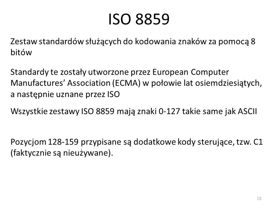 ISO 8859 Zestaw standardów służących do kodowania znaków za pomocą 8 bitów.