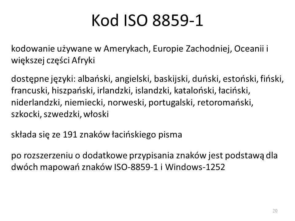 Kod ISO 8859-1 kodowanie używane w Amerykach, Europie Zachodniej, Oceanii i większej części Afryki.