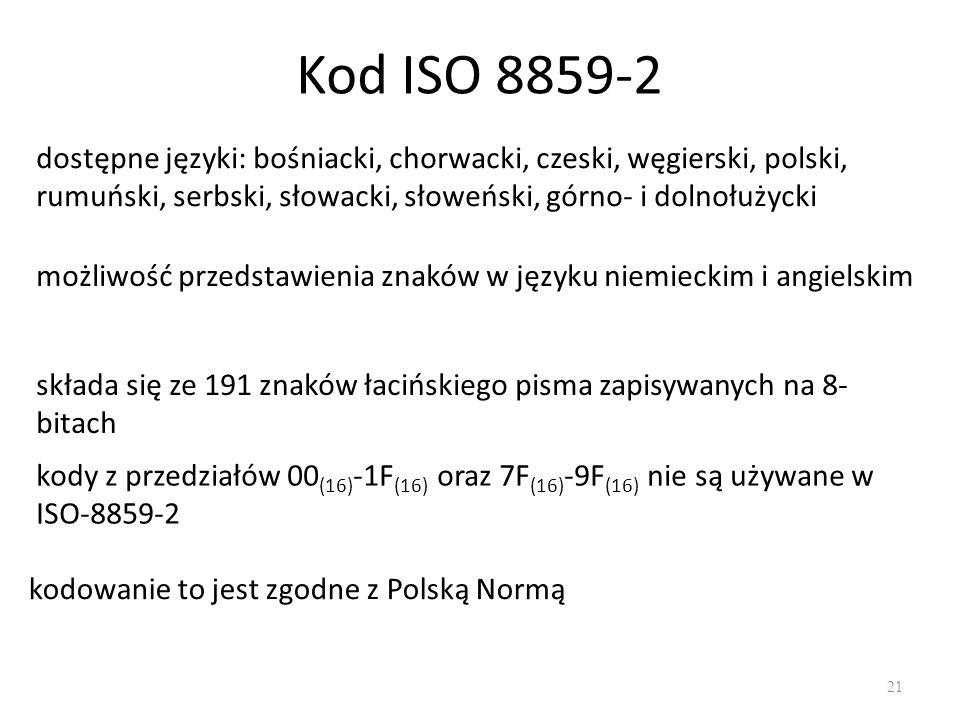 Kod ISO 8859-2 dostępne języki: bośniacki, chorwacki, czeski, węgierski, polski, rumuński, serbski, słowacki, słoweński, górno- i dolnołużycki.