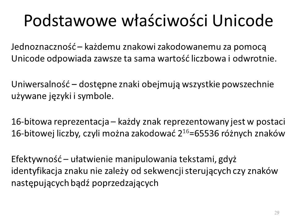 Podstawowe właściwości Unicode