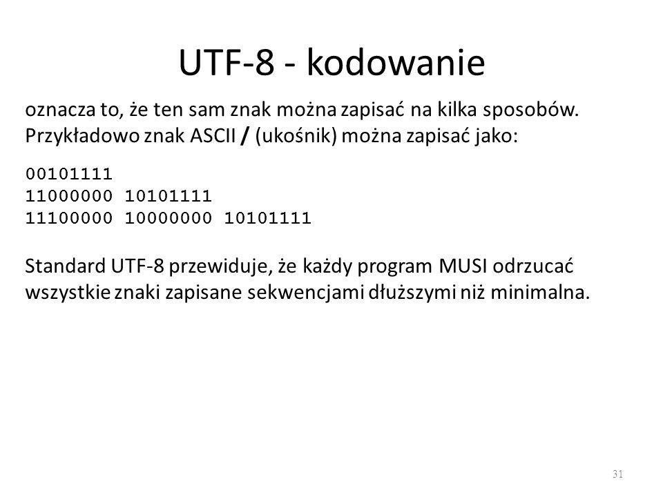 UTF-8 - kodowanie oznacza to, że ten sam znak można zapisać na kilka sposobów. Przykładowo znak ASCII / (ukośnik) można zapisać jako: