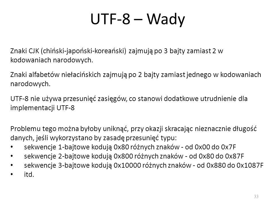 UTF-8 – Wady Znaki CJK (chiński-japoński-koreański) zajmują po 3 bajty zamiast 2 w kodowaniach narodowych.
