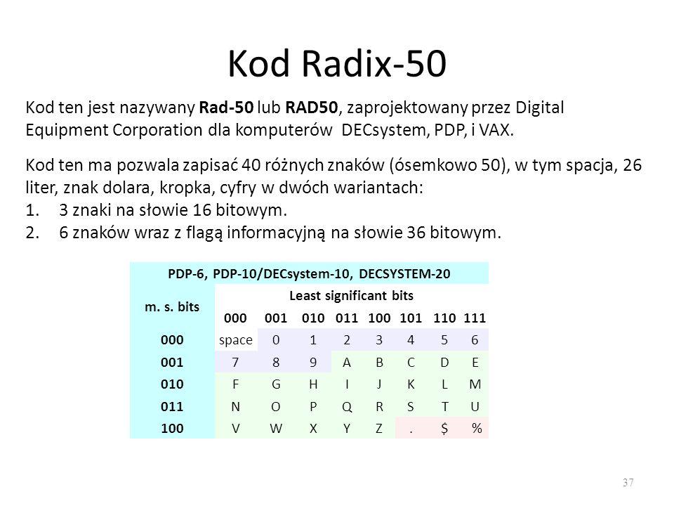 PDP-6, PDP-10/DECsystem-10, DECSYSTEM-20 Least significant bits