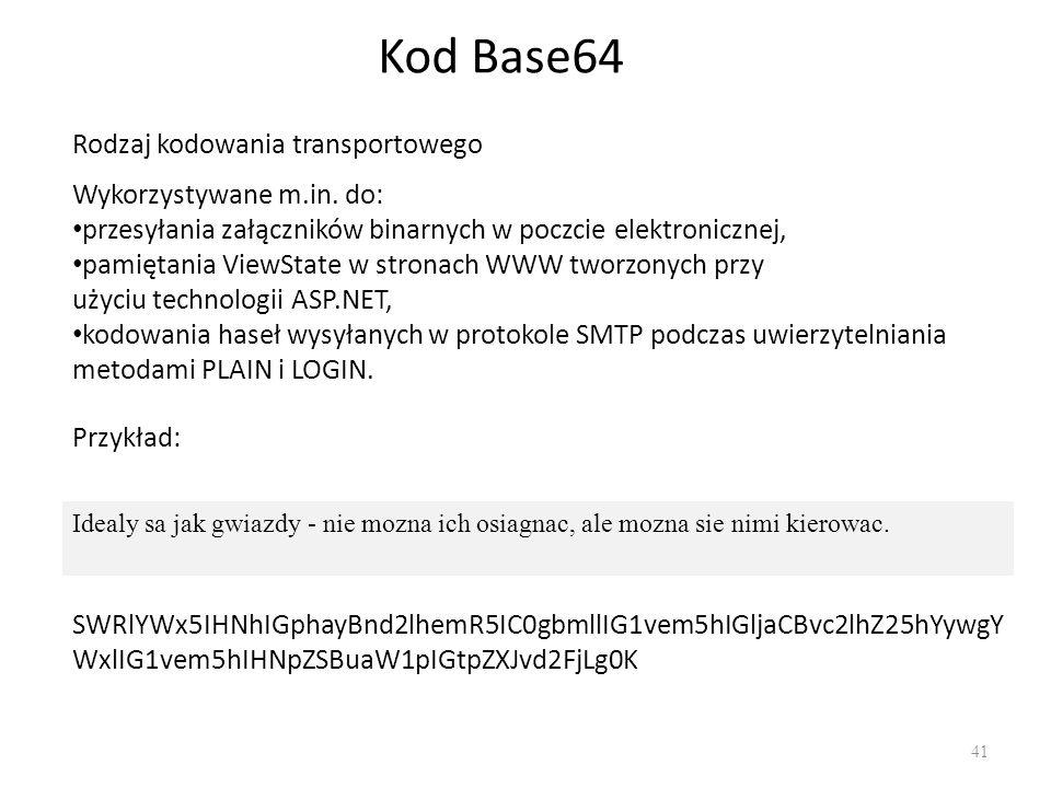Kod Base64 Rodzaj kodowania transportowego Wykorzystywane m.in. do: