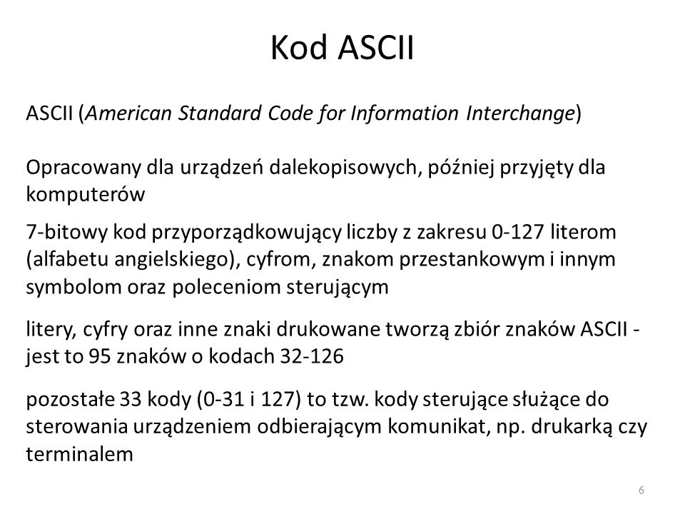 Kod ASCII ASCII (American Standard Code for Information Interchange)