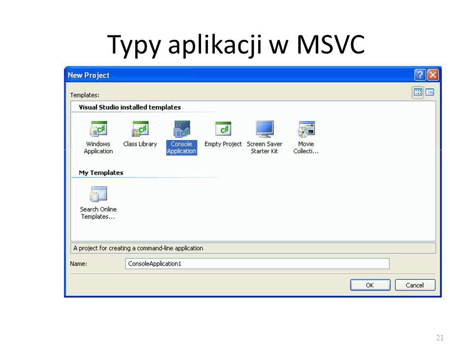 Typy aplikacji w MSVC