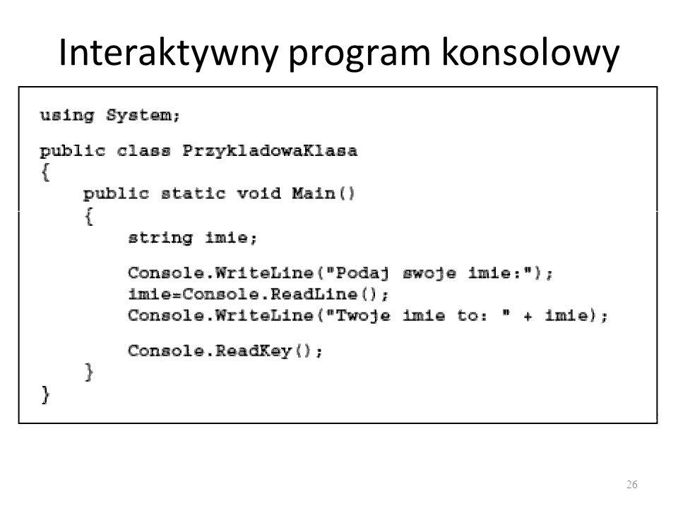 Interaktywny program konsolowy