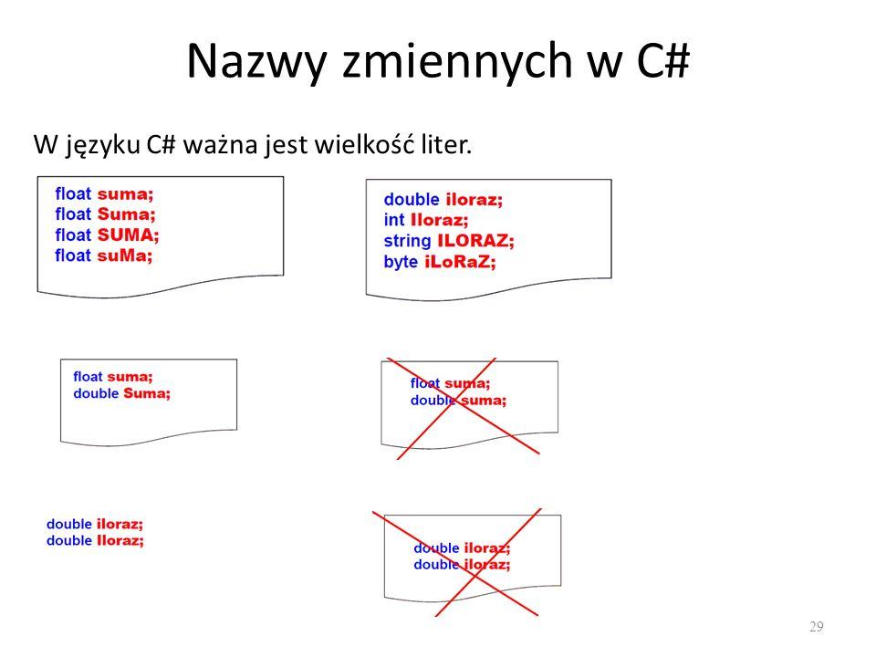 Nazwy zmiennych w C# W języku C# ważna jest wielkość liter.