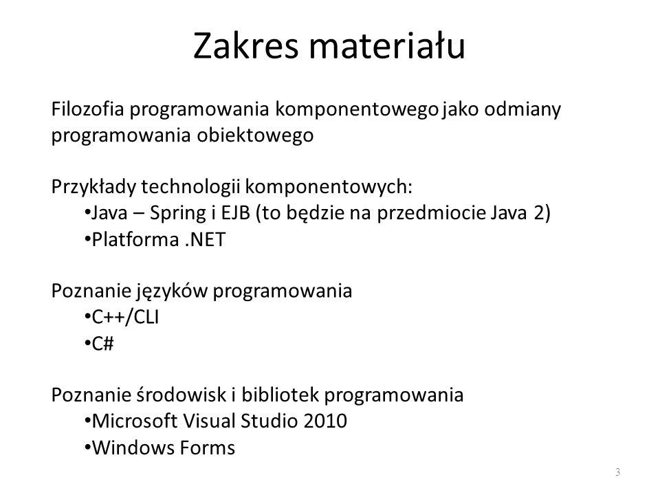 Zakres materiału Filozofia programowania komponentowego jako odmiany programowania obiektowego. Przykłady technologii komponentowych:
