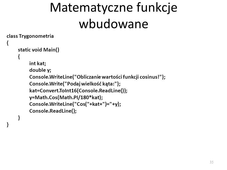 Matematyczne funkcje wbudowane