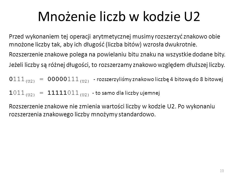 Mnożenie liczb w kodzie U2