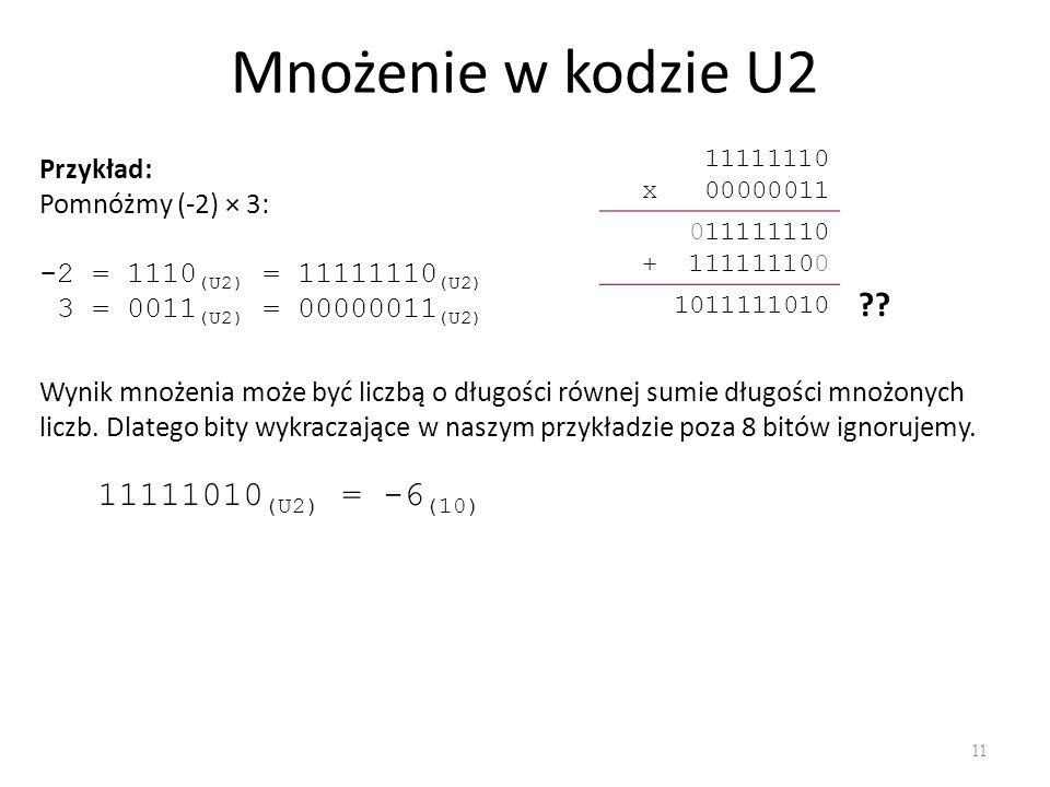 Mnożenie w kodzie U2 11111010(U2) = -6(10) Przykład: