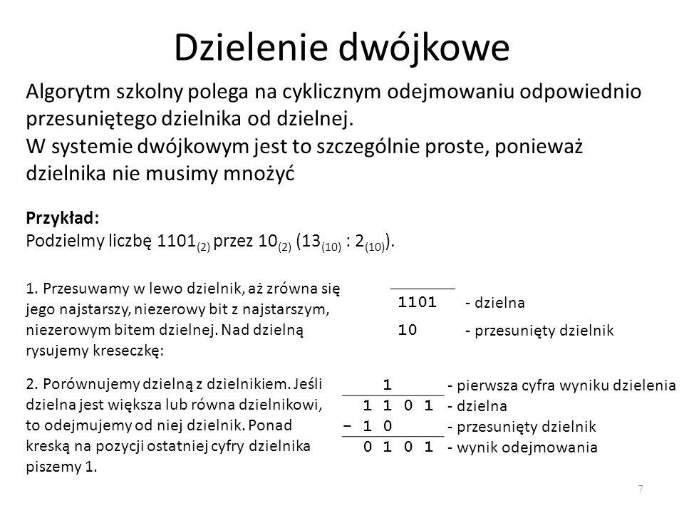 Dzielenie dwójkowe Algorytm szkolny polega na cyklicznym odejmowaniu odpowiednio przesuniętego dzielnika od dzielnej.