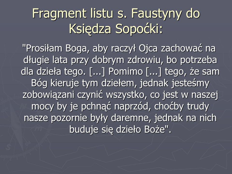 Fragment listu s. Faustyny do Księdza Sopoćki:
