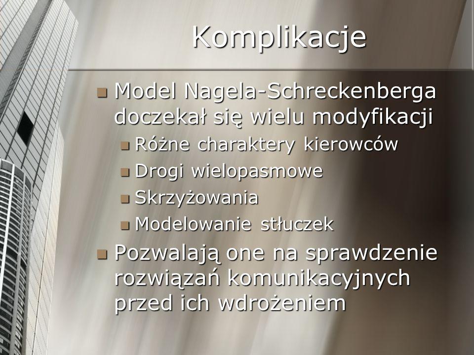 Komplikacje Model Nagela-Schreckenberga doczekał się wielu modyfikacji