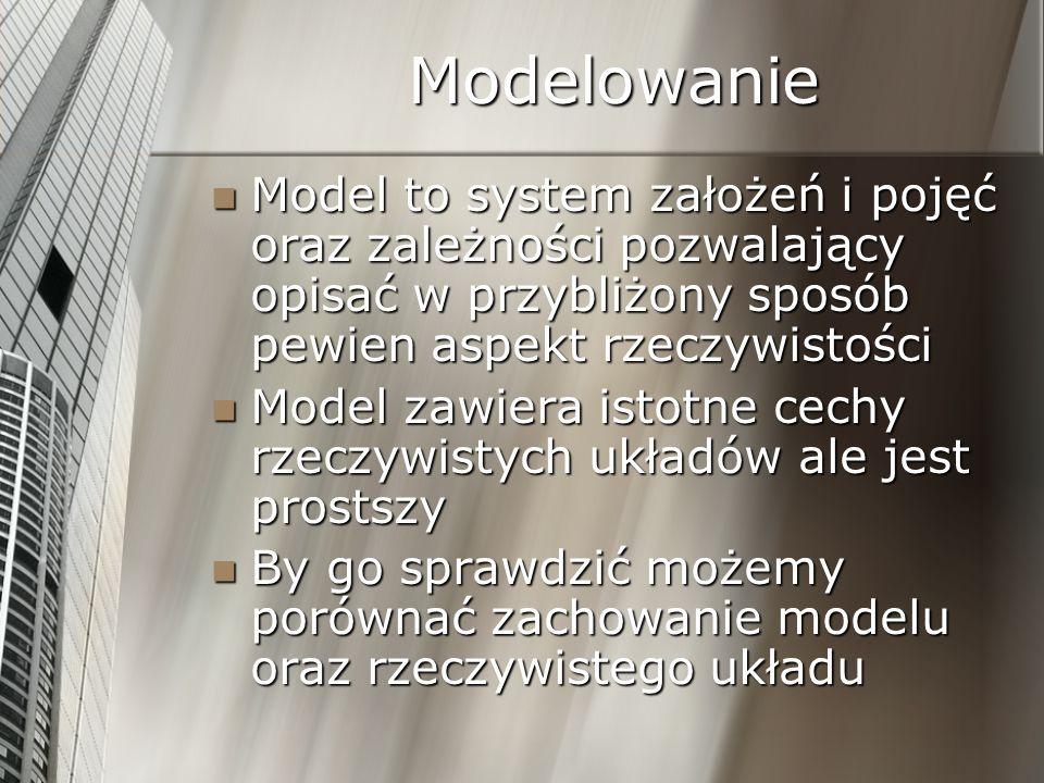 Modelowanie Model to system założeń i pojęć oraz zależności pozwalający opisać w przybliżony sposób pewien aspekt rzeczywistości.