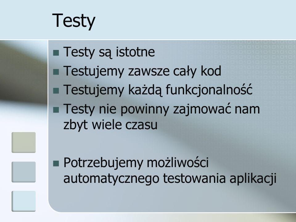 Testy Testy są istotne Testujemy zawsze cały kod