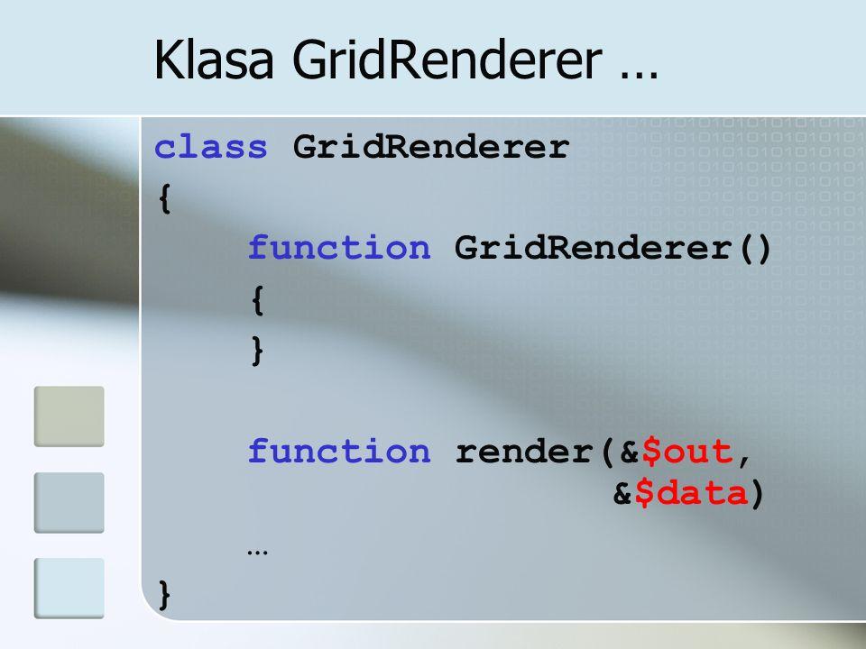 Klasa GridRenderer … class GridRenderer { function GridRenderer() }