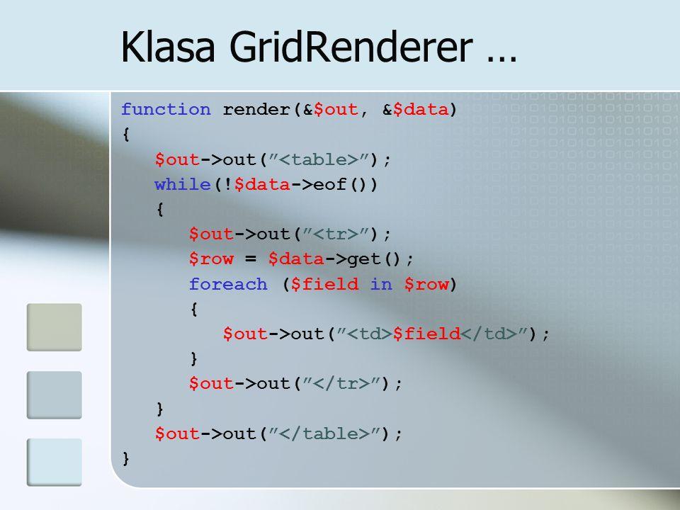 Klasa GridRenderer … function render(&$out, &$data) {
