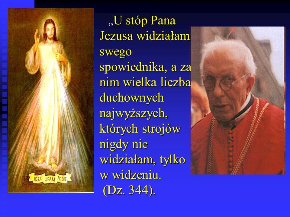 """""""U stóp Pana Jezusa widziałam swego spowiednika, a za nim wielka liczba duchownych najwyższych, których strojów nigdy nie widziałam, tylko w widzeniu."""