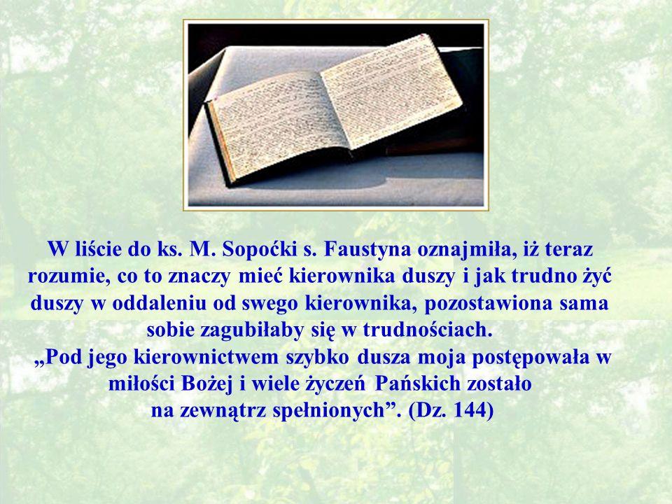 W liście do ks. M. Sopoćki s