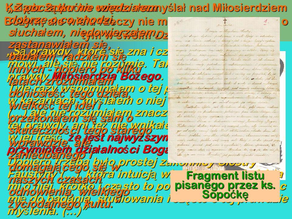 Fragment listu pisanego przez ks. Sopoćkę