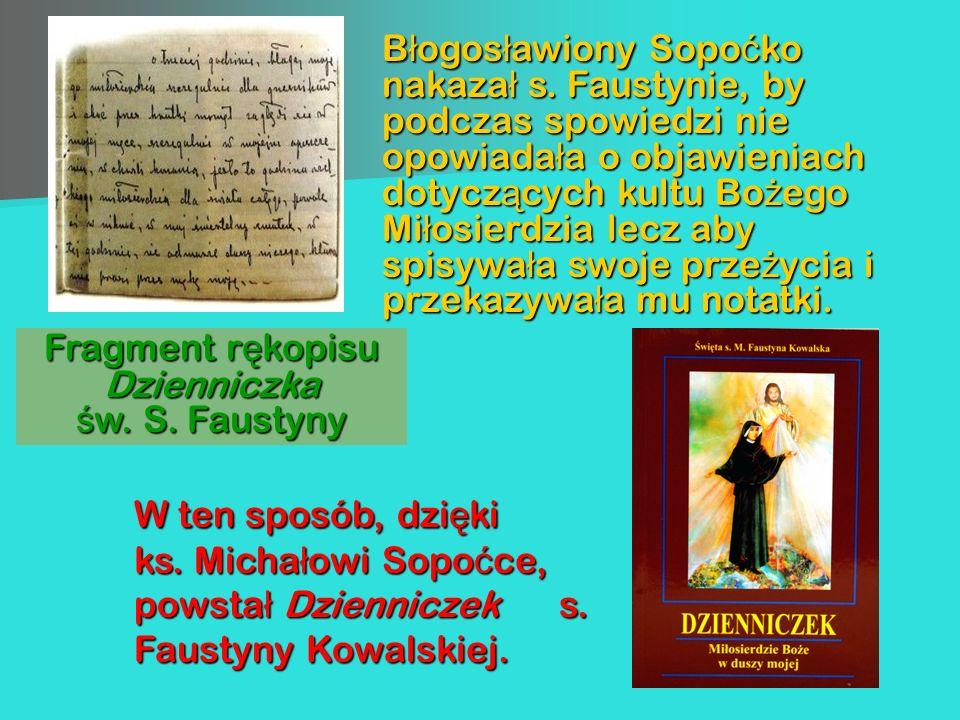 Fragment rękopisu Dzienniczka św. S. Faustyny