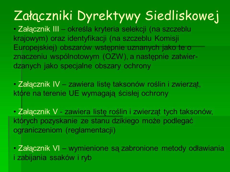 Załączniki Dyrektywy Siedliskowej