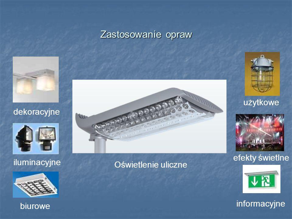 Zastosowanie opraw użytkowe dekoracyjne efekty świetlne iluminacyjne