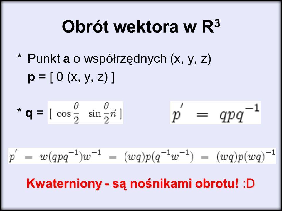 Obrót wektora w R3 * Punkt a o współrzędnych (x, y, z)