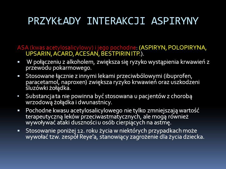 PRZYKŁADY INTERAKCJI ASPIRYNY