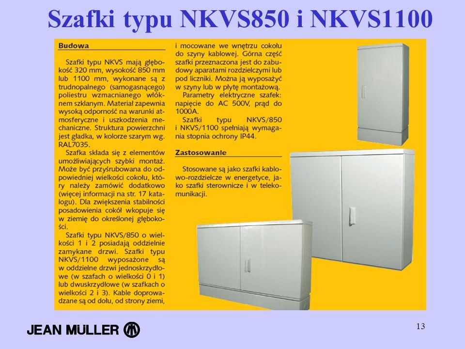 Szafki typu NKVS850 i NKVS1100