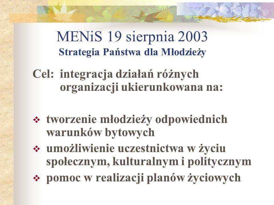 MENiS 19 sierpnia 2003 Strategia Państwa dla Młodzieży
